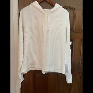 White ribbed hoodie